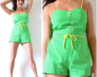 SUMMER SALE / 20% off Vintage 60s 70s Green Polka Dot Floral Embroidered Playsuit (size small, medium)