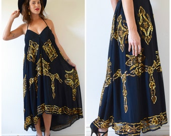 Vintage 80s 90s Black and Gold Sequined and Beaded High Waisted Maxi Skirt