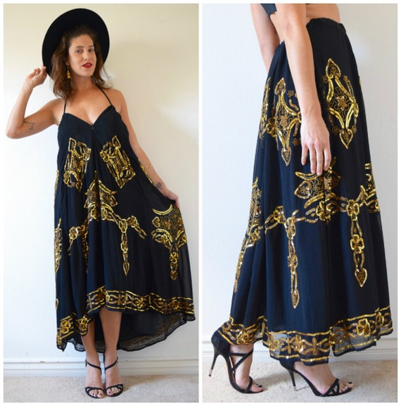 SPRING SALE/ 20% off Vintage 80s 90s Black and Gold Sequined and Beaded High Waisted Maxi Skirt