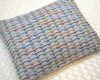 The Perfect Toddler Pillow ... Multi-Colored Skateboards on Gray Flannel  ... Original Design by Sew Cinnamon