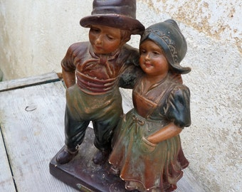 Vintage Antique 1900/1920 French Notre Amour handpainted plaster statue couple lovers