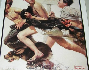 Vintage Norman Rockwell No Swimming Print 12406