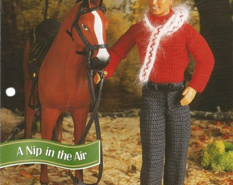 A Nip in the Air, Crochet Doll Clothes Patterns, Annies Fashion Doll, Crochet Club, FCC16-04, Sweater, Scarf, Pants, Cap, Mittens, Belt