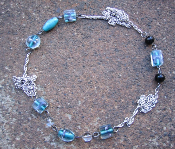 Eco-Friendly Statement Necklace - Splash - Recycled Vintage Chain and Glass Beads in Blue, Black and Clear with Hints of Purple and Aqua