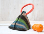 Triangle Pouch inGreen Camel and Teal Stripes with Orange Handle