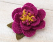Recycled Wool Flower Brooch in Magenta and Yellow