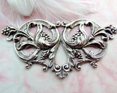 SILVER Victorian Floral Stampings - Jewelry Antique Silver Findings (FA-6106) #