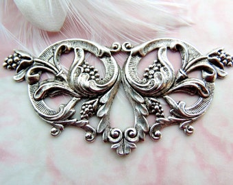 ANTIQUE SILVER * Victorian Floral Stampings ~ Jewelry Findings (FA-6106)