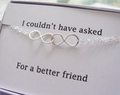 ON SALE Infinity Bracelet & Card SET, Double Infinity, Mother's Bracelet Gift, Figure Eight, Bridesmaids Party, Bridal Jewelry, Friendship B