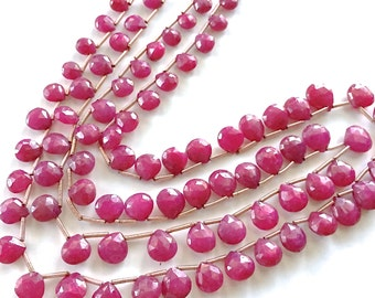 Faceted Ruby Briolettes 5-10mm