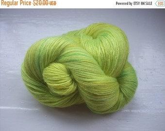 JULY SALE Hand painted yarn 100g. angora laceweight lemony green