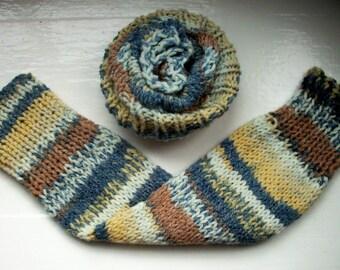 Chunky warm leg warmers, multi striped Fair Isle effect, tan, beige, grey, cream knit wool cotton mix