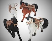 Horses with saddle   flocked Horses 4 inches tall  Horse figurine   toy horse