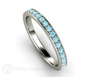 Aquamarine Anniversary Band Aquamarine Ring Aqua Wedding Band 14K Gold or Palladium March Birthstone