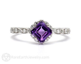 Asscher Amethyst Ring Diamond Halo Unique Engagement Ring Purple Gemstone Ring February Birthstone 14K or 18K Gold