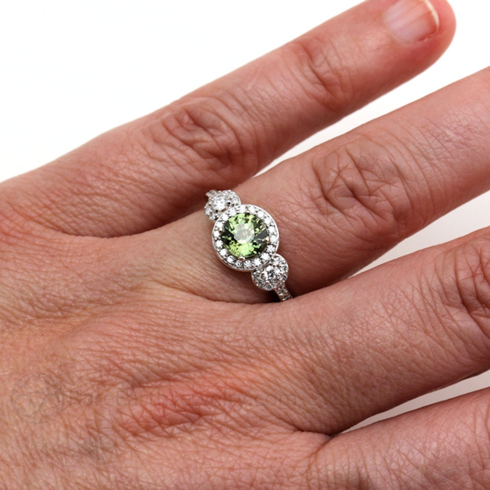 Green Sapphire Engagement Ring 3 Stone Round Green By