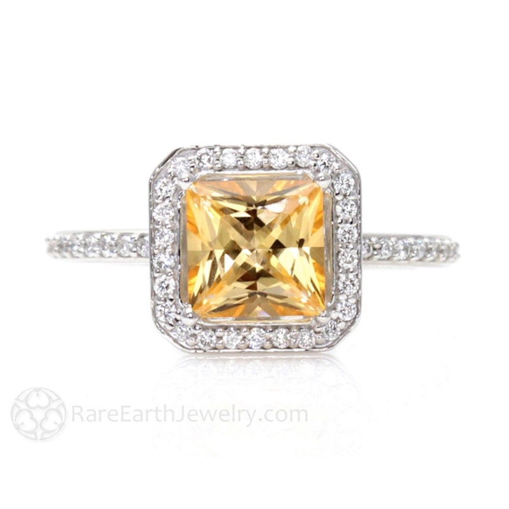 Diamond And Yellow Topaz Ring