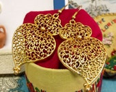 Heart of Viana earrings Portuguese gold tone filigree-Get home page Coupon