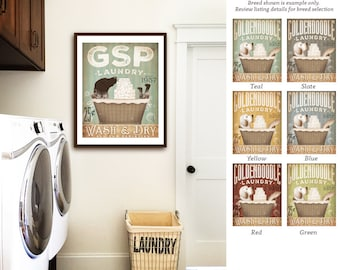 German Shorthaired pointer GSP dog laundry basket company laundry room artwork UNFRAMED signed artists print by stephen fowler geministudio