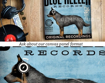 blue heeler australian cattle dog records album style artwork on gallery wrapped canvas by stephen fowler