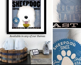 Old English Sheepdog Coffee company art graphic artwork giclee archival signed artist's print by Stephen Fowler