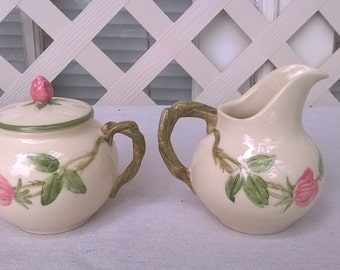 Franciscan Desert Rose Cream and Sugar Set , 1940s Stamp, USA, California, Hand Painted, Ex cond