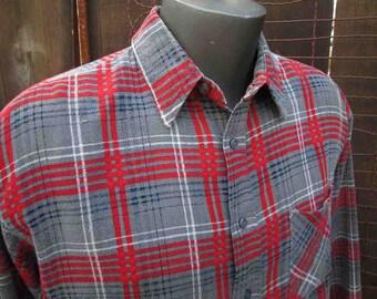 Vintage 70s Flannel Plaid Printed Plaid shirt Red Gray Plaid Flannel printed cotton plaid shirt L