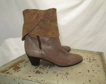 Vintage Cuff Boots Taupe leather ankle boots Tan suede 70s boots Vintage fold down bootie style 70s Vintage Italian boots 37 1/2 7.5