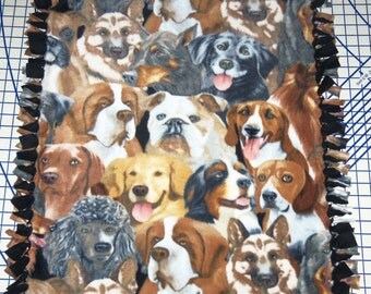 Golden Retriever Bulldog German Sherpard Pit Bull Dog Fleece Blanket Hand Tied Pet Baby Lap
