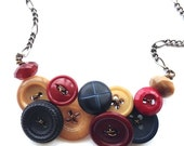 Christmas in July Sale Button Necklace - Navy Blue, Burgundy Red, and Tan Brown Vintage Buttons