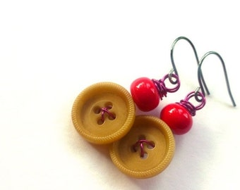 ON SALE Tan Button Earrings with Pink