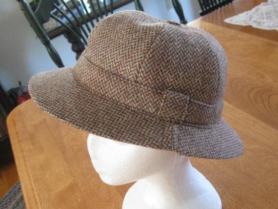 Crochet Deerstalker Hat Pattern : Vintage Wool Herringbone Hat Deerstalker Hat Sherlock Holmes