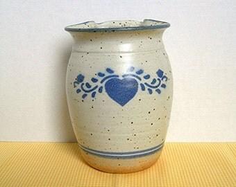 Wall Pocket Vase, Rustic Stoneware Pottery, Folk Art, Blue Heart Design, Vintage c1970-80, Home Porch Cabin Decor Collectible