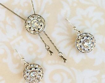 Unique Bridesmaid Necklace Earrings Jewelry Sets, Swarovski Wedding Jewelry, Crystal Y Necklace, Long Silver Necklace, Bridesmaid Gift