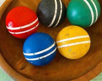 Have a Ball... Vintage Wooden Croquet Balls Striped Balls Bowl Filler Sport Balls Lawn Game