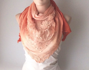 Hand Dyed Orange Color Scarf from %100 coton with flora desing and tulle patchwork
