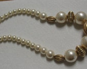 Vintage Large Simulated Pearl Gold Tone Beaded Necklace