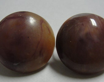 Purple and Brown Marbled Round Clip Earrings