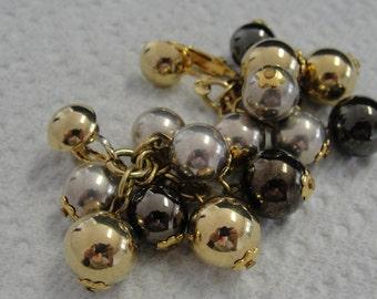 Vintage Cluster Metal Beaded Clip Earrings