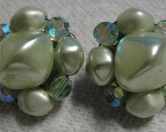 Vintage Green Beaded Clip Earrings