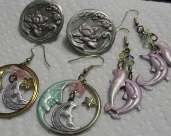 Man in the Moon Dolphins and Floral Pierced Earrings