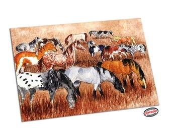 Horse Art Print Mustang Art Horse ACEO Art Print Appaloosa Pinto Roan Buckskin ACEO horse Equine Art horse lover horse gift by Denise Every
