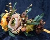Fall Flower Crown, Woodland Flower Crown, Bridal Flower Crown, Wedding Flower Crown, Boho Flower Crown, Rose Flower Crown, Taupe Rose