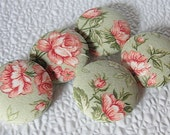 """FABRIC Covered HANDMADE Buttons...Shabby Chic Romance--1-1/8th""""--Sew On Buttons"""
