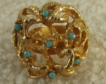 Chunky Vintage Ring, Abstract Design, Adjustable, Gold, Faux Turquoise, Unmarked, 1970s