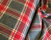 Flannel Fabric, Mammoth Plaid Flannel, Buffalo Plaid, Red and Gray Flannel, Lumberjack Chic, by Robert Kaufman, Mammoth Flannel in Cream Red