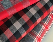 FLANNEL fabric, Mammoth Flannel Fabric Bundle of 3, Hipster fabric, Lumberjack, Red Black Plaid, Robert Kaufman- Choose the cuts