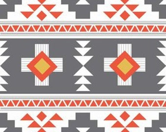 Tribal fabric, Aztec fabric, Boho fabric, Four Corners fabric by Riley Blake, Corners Main in Gray, Choose The Cut, Fat Quarter to Yards