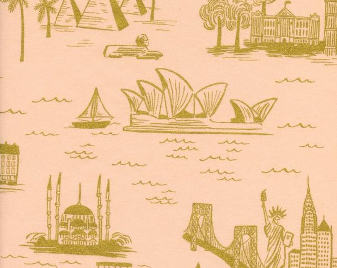 Rifle Paper Co Fabric, Cotton Lawn, Cotton and Steel fabric, Les Fleurs, Cotton Lawn, City Toile Peach Gold Metallic - Choose the cut