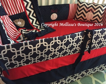 Custom Baseball Americana Red White & Navy Blue Baby Nursery 4-Piece Crib Bedding Set made with Designer Fabrics MADE To ORDER